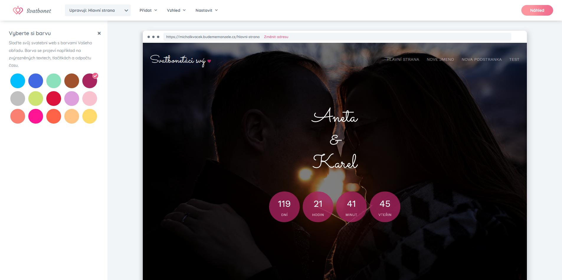svatební webové stránky vzhled vyberete si barvu