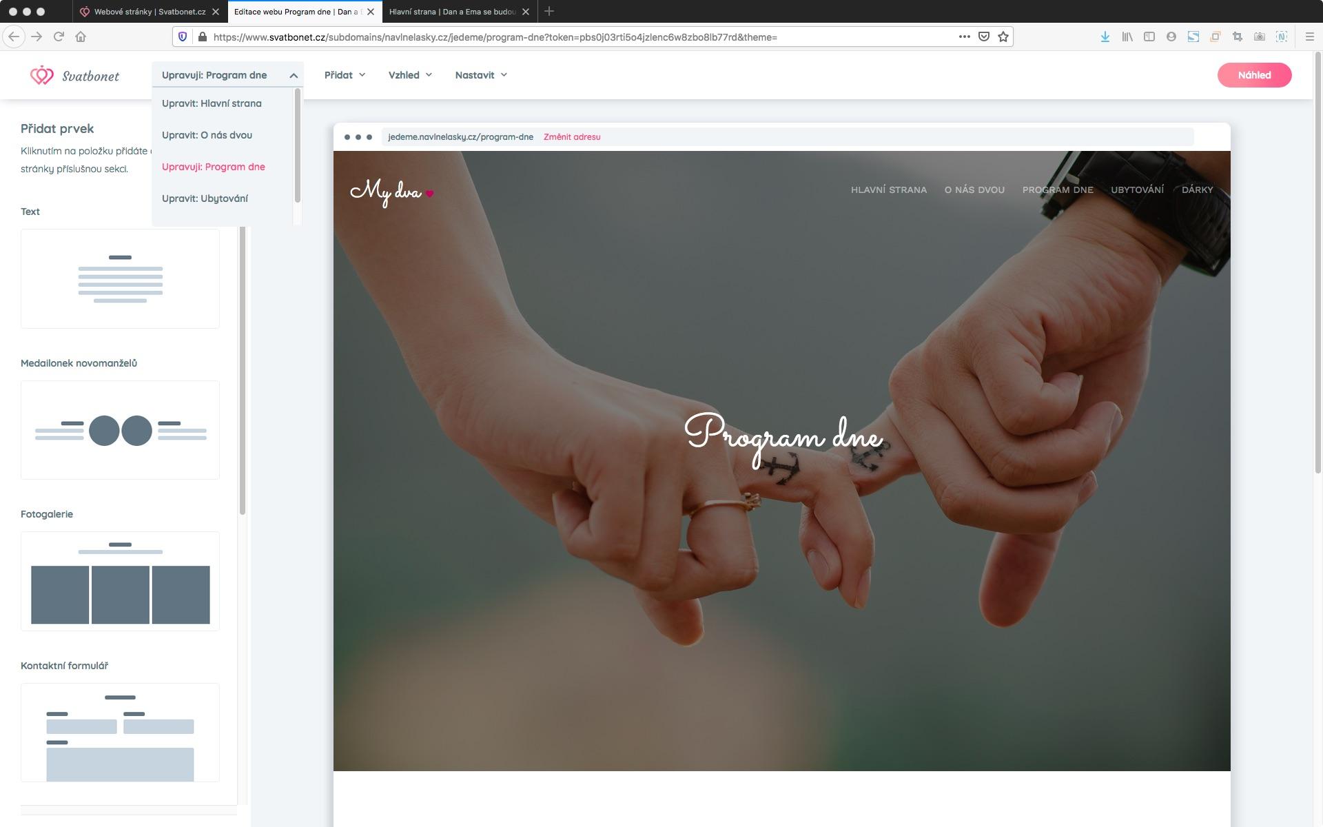 svatební webové stránky z menu lišty